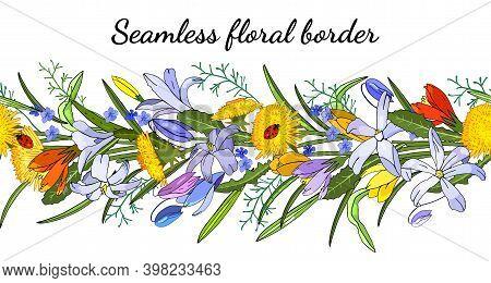 Seamless Spring Flower Border Isolated On White.