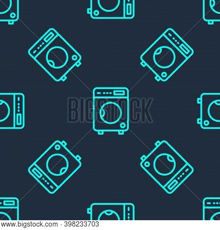 Green Line Washer Icon Isolated Seamless Pattern On Blue Background. Washing Machine Icon. Clothes W