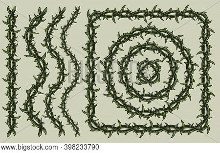 Green Barbed Wire Vintage Pattern Brush With Line Wave Square And Circle Shapes Isolated Vector Illu