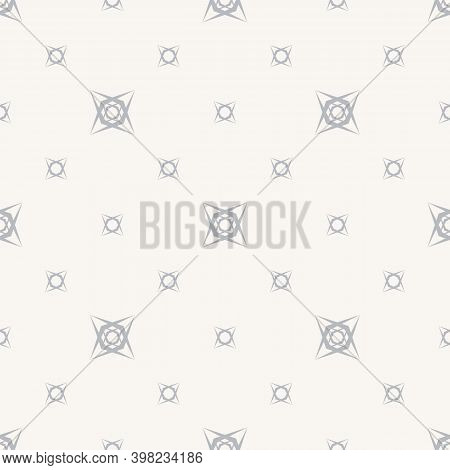 Vector Minimalist Background. Subtle Geometric Seamless Pattern With Tiny Floral Shapes, Small Cross