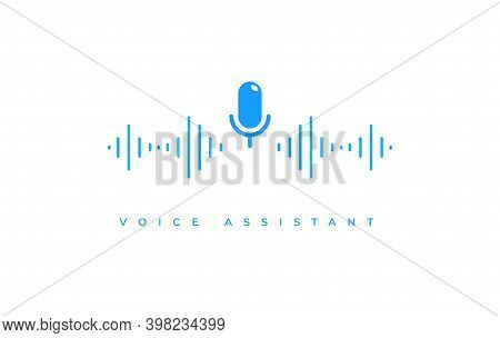 Microphone Icon With Soundwave. Flat Vector Illustration Of Voice Assistant Blue Symbol For Sound Re