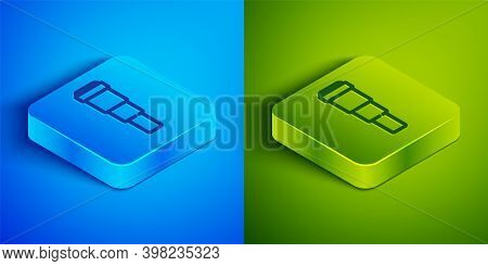 Isometric Line Spyglass Telescope Lens Icon Isolated On Blue And Green Background. Sailor Spyglass.