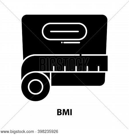 Bmi Icon, Black Vector Sign With Editable Strokes, Concept Illustration