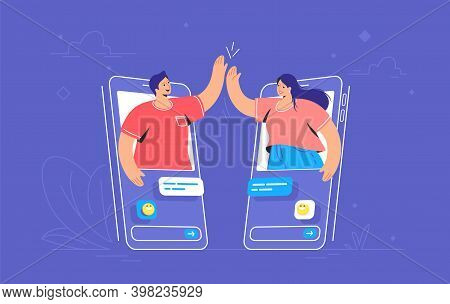 Video Call Or Mobile Chat Conversation. Concept Vector Illustration Of Two Friends Giving A High-fiv