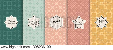 Vector Set Of Vintage Seamless Patterns. Elegant Retro Geometric Textures In Trendy Pastel Colors. P