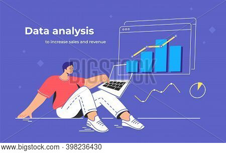 Data Analysis To Increase Sales And Revenue. Flat Line Vector Illustration Of Cute Man Sitting With