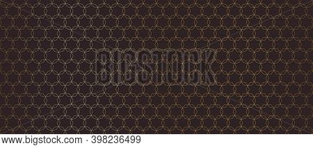 Golden Line Pattern. Subtle Seamless Background With Thin Linear Hexagonal Grid, Mesh, Lattice, Star