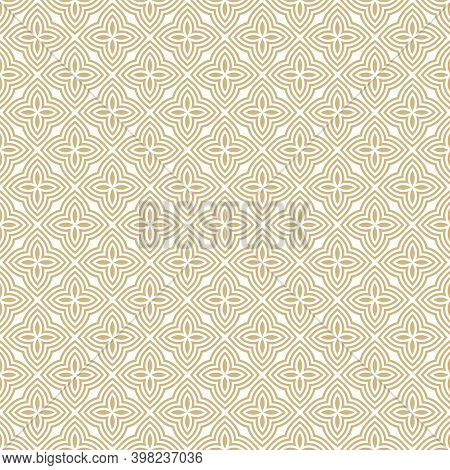 Golden Vector Floral Seamless Pattern. Abstract Gold And White Geometric Ornament With Small Flowers