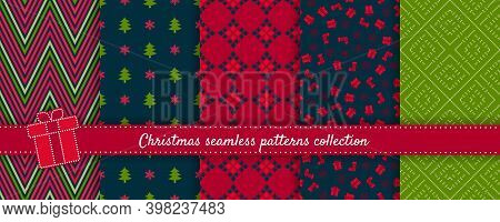 Christmas Seamless Patterns Collection. Vector Set Of Winter Holiday Background Swatches. Cute Color
