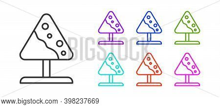 Black Line Road Sign Avalanches Icon Isolated On White Background. Snowslide Or Snowslip Rapid Flow