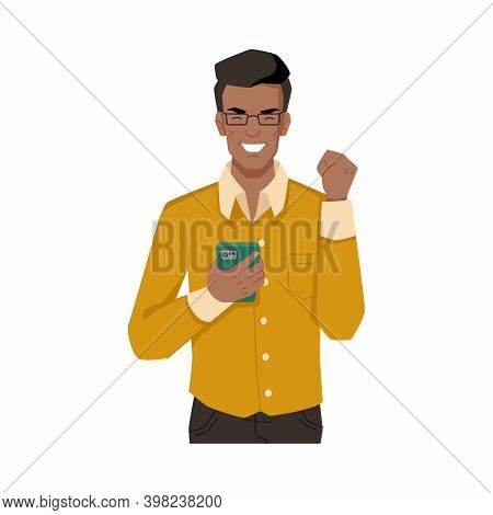 Guy Laughs, Delighted With Smartphone, Happy To Get Incoming Message Or Call, Isolated Afro American