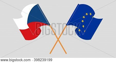 Crossed And Waving Flags Of Czech Republic And The Eu. Vector Illustration