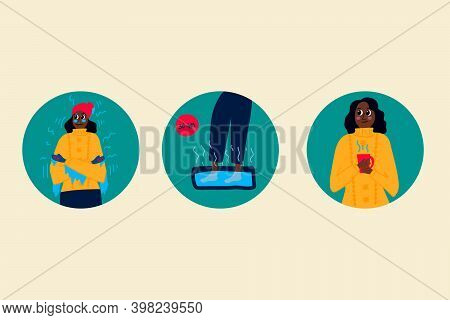 Set Of Illustrations Of A Woman Freezing Frostbite. Vector Linear Illustration Of Frozen Hands, Feet