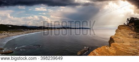 Pacific City, Oregon Coast, United States Of America. Beautiful Panoramic View Of A Small Touristic