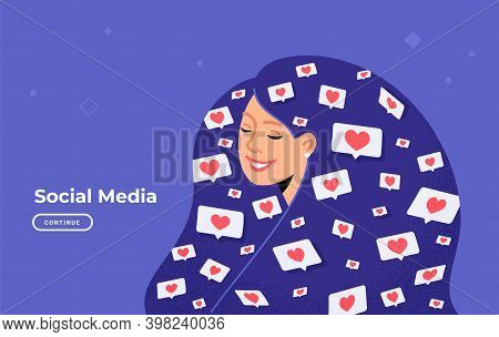 Social Media Likes And Hearts Flying In Human Head. Flat Vector Concept Illustration Of Happy Woman