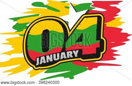Typography Number Of 04 For 04 January When Celebrate The Myanmar Independence Day.