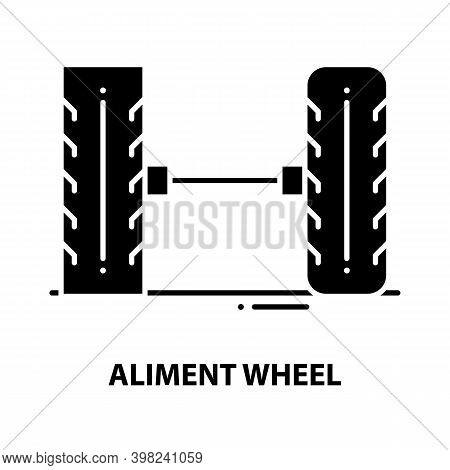Aliment Wheel Icon, Black Vector Sign With Editable Strokes, Concept Illustration