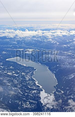 Aerial View Of Kachess Lake , Usa In Winter