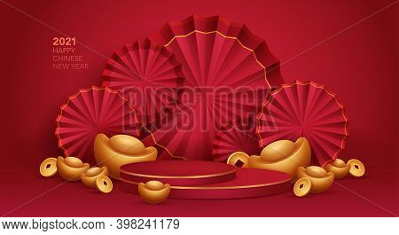 3d Illustration Chinese New Year Red And Golden Theme Product Display Background With Ingot, Paper F