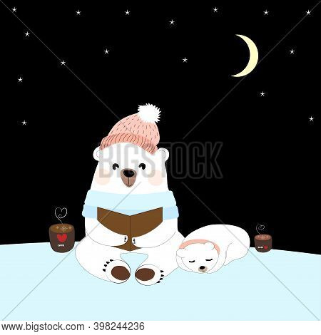Polar Bear Mommy Reading Bed Time Story For Cub, Happy Dad Bear And Child Siting Together At Night W