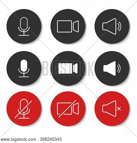 Speaker, Mic And Video Camera Related Icons. Basic Icons For Video Conference, Webinar And Video Cha