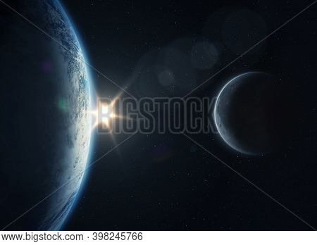 Planet Earth With Sunrise And Moon In Outer Space. Science Fiction Wallpaper. Elements Of This Image