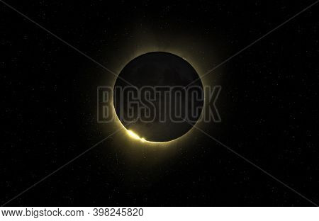The Moon Covers The Sun In A Beautiful Solar Eclipse. Total Solar Eclipse, Natural Phenomenon When M