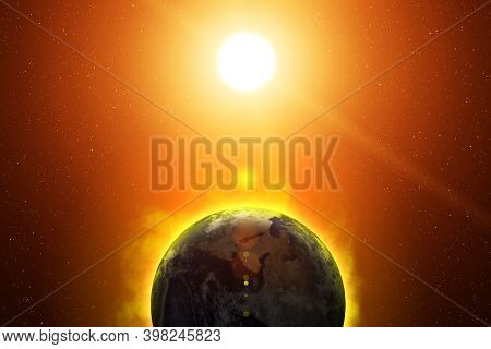 Earth And Sun. Global Catasrtophe Concept: Global Warming, Expansion Of The Sun, Planet Overheating,