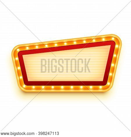 Vintage Signboard With Glowing Bulbs. Wall Sign With Marquee Lights. Retro Billboard With Light Bulb