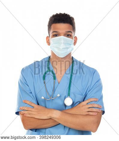 Latin doctor with mask in times of coronavirus isolated on a white background