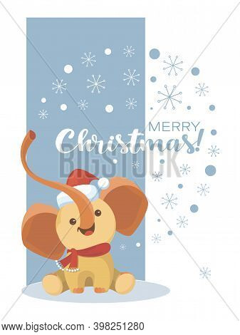 Baby Elephant Santa. Vector Cartoon Character And Wish A Merry Christmas. Design Of A Childrens Card