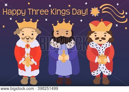 Cute Three Kings Or Wise Men With Gifts Hand Drawn Vector Illustration. Falling Star. Text Lettering