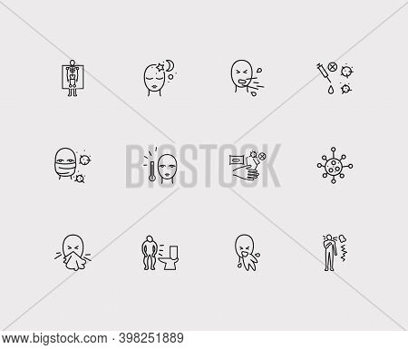 Illness Icons Set. Sneezing And Illness Icons With Face Mask With Viruses, Vaccine And Fever. Set Of