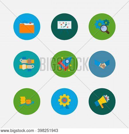 Technology Partnership Icons Set. Technical Strategy And Technology Partnership Icons With Marketing