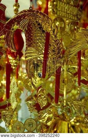A Golden Fish In A Chinese Temple In The City Centre Of Taipei In Taiwan Of East Aasia.   Taiwan, Ta