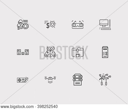 Hardware Icons Set. 3d Glasses And Hardware Icons With Technical Support, Computer And System Unit.