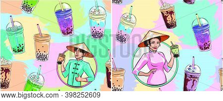 Bubble Tea Seamless Pattern. Popular Asian Cold Drink, Pearl Milk Tea, Trendy Breakfast Vietnam Boba