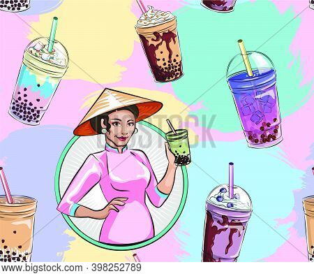 Asian Girl Tasting Bubble Tea, Fruit And Jelly Pieces, Takeaway Street Drinks, Bubble Tea Seamless P