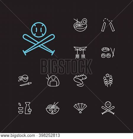 Japan Icons Set. Tori Gate And Japan Icons With Ramen, Ninja And Yakitori. Set Of Accessory For Web