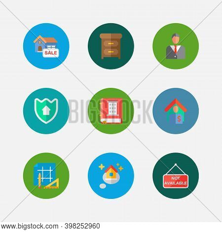 Building Icons Set. Tenant And Building Icons With Home Security, Dream Home And House For Sale. Set