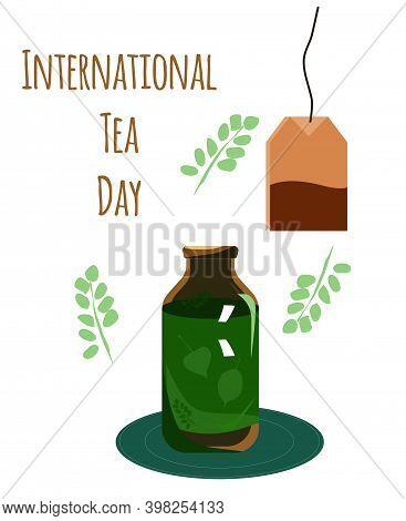International Tea Day Illustration.green Glass Vial With Herbal Beverage.unusal Cup Or Special Bottl