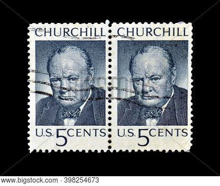 Usa - Circa 1965 : Cancelled Postage Stamp Printed By Usa, That Shows Winston Churchill, Circa 1965.