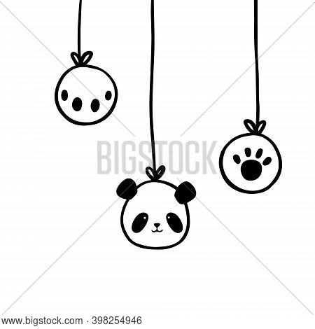 Christmas New Year Card. Christmas Balls In Black And White. Vector Isolated Illustration.