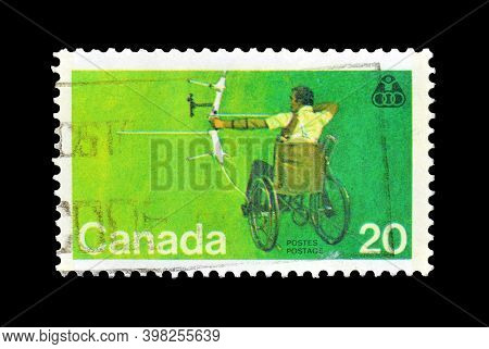 Canada - Circa 1976 : Cancelled Postage Stamp Printed By Canada, That Shows Archer In Wheelchair, Ci