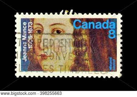 Canada - Circa 1973 : Cancelled Postage Stamp Printed By Canada, That Shows Jeanne Mance, Circa 1973