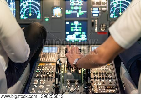 Gdansk, Poland - December 06, 2020: Illuminated Cockpit Of Flight Simulator For The Training Of The
