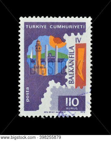 Turkey - Circa 1973 : Cancelled Postage Stamp Printed By Turkey, That Promotes Balkanfila, Circa 197
