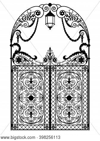 Arched Metal Gates With Wrought Iron Ornaments On A White Background