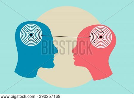 Silhouette Of The Head Of Man And Woman With Maze Inside, Symbolizing Psychological Processes Of Und