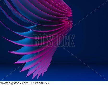 Abstract Digital Graphic Pattern, Bent Impeller Structure Wih Vibrant Neon Illumination Over Dark Bl